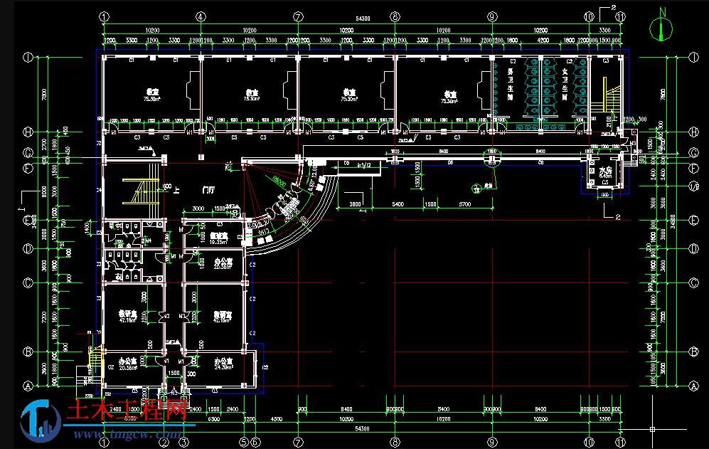 jx009【4层】4000平米江苏倒L型框架教学楼毕业设计