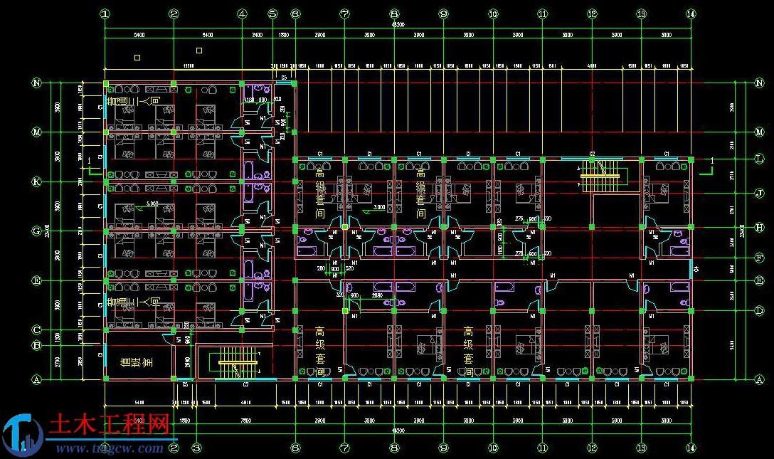 5层4554平米襄樊框架结构宾馆旅馆毕业设计
