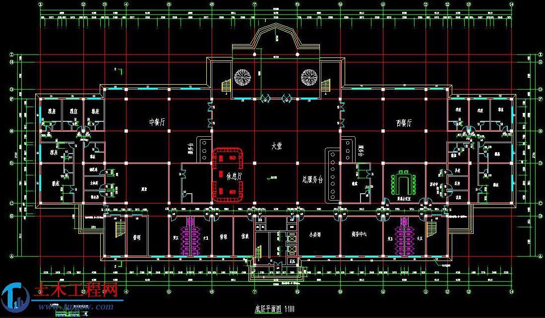 9层13283平米7度区框架结构宾馆旅馆毕业设计