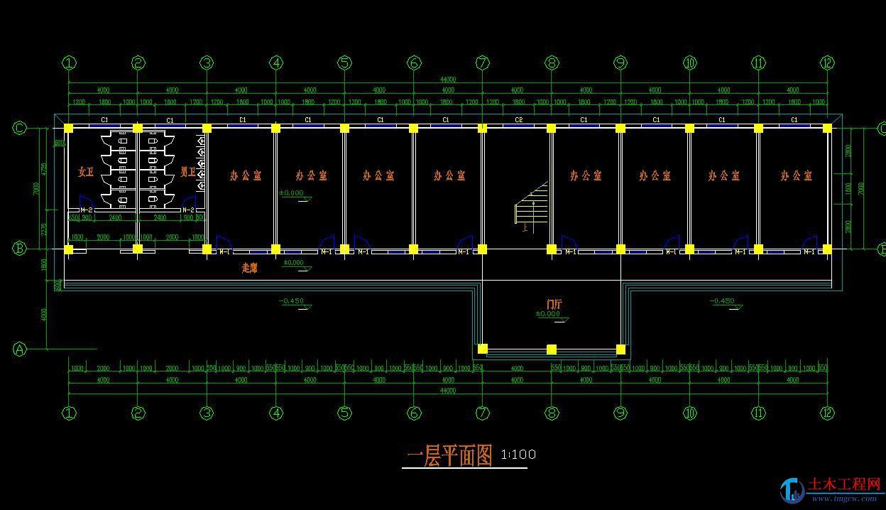 5层2000平米南京框架高中教学楼毕业设计