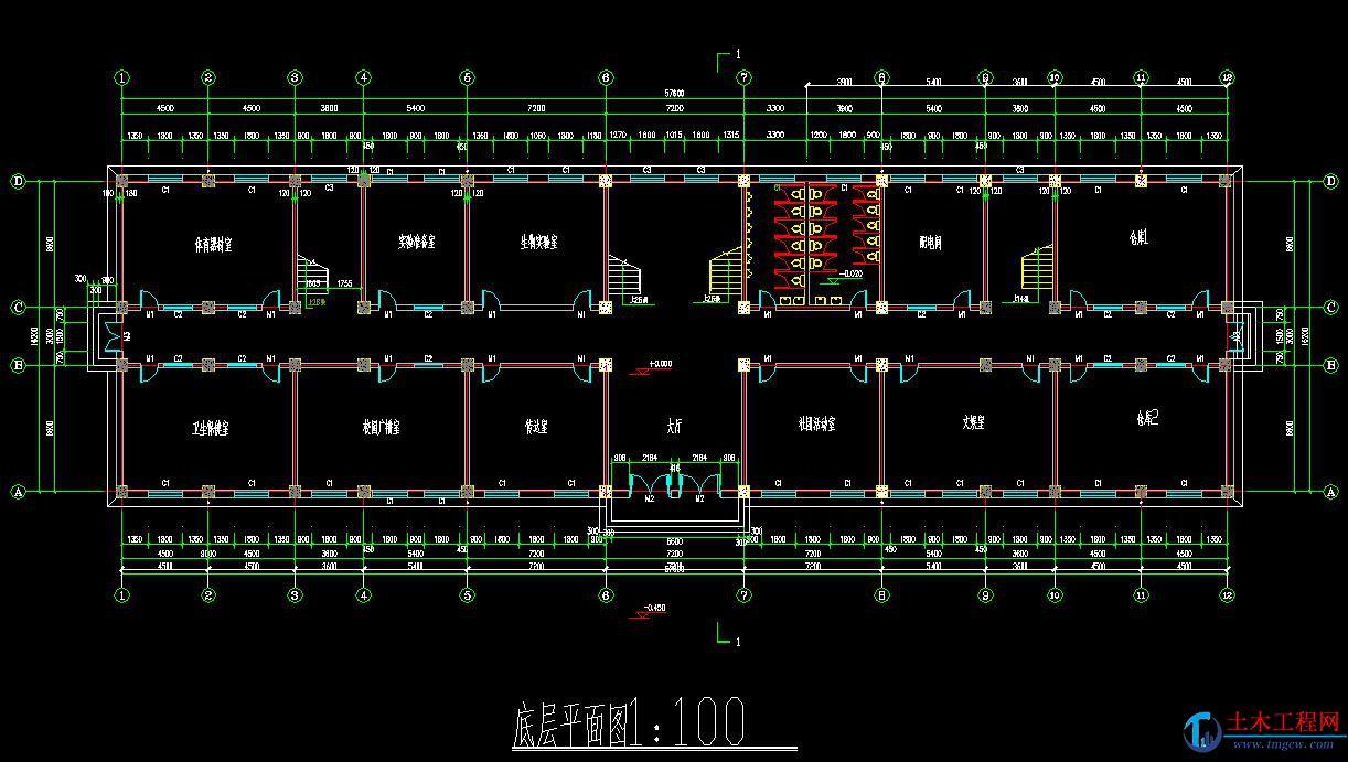 5层4650平米上海市某框架结构教学楼毕业设计