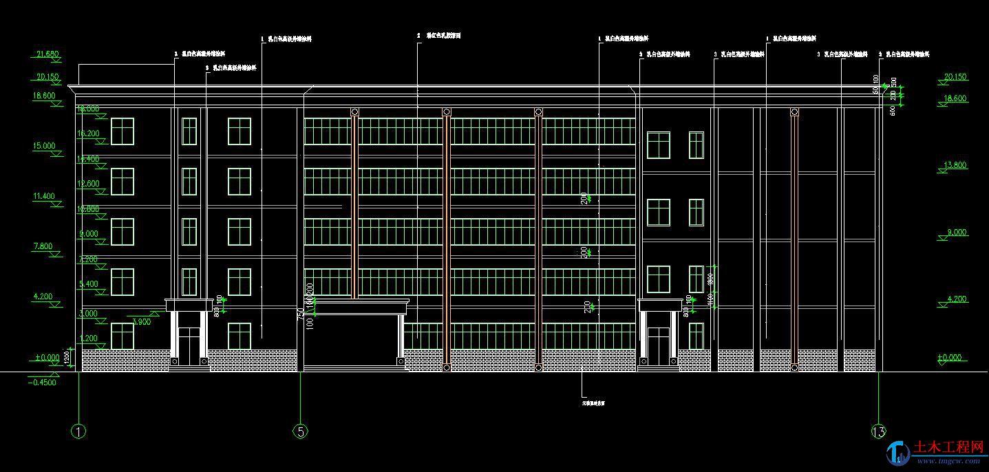 5层5100平米郑州市L型大学教学楼毕业设计
