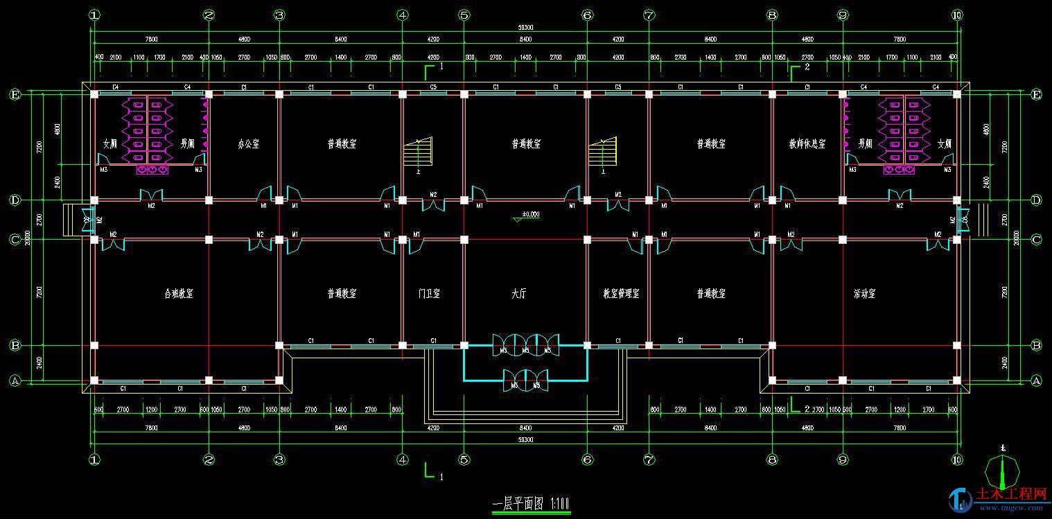 5层5526平米沈阳市某框架结构中学教学楼毕业设计