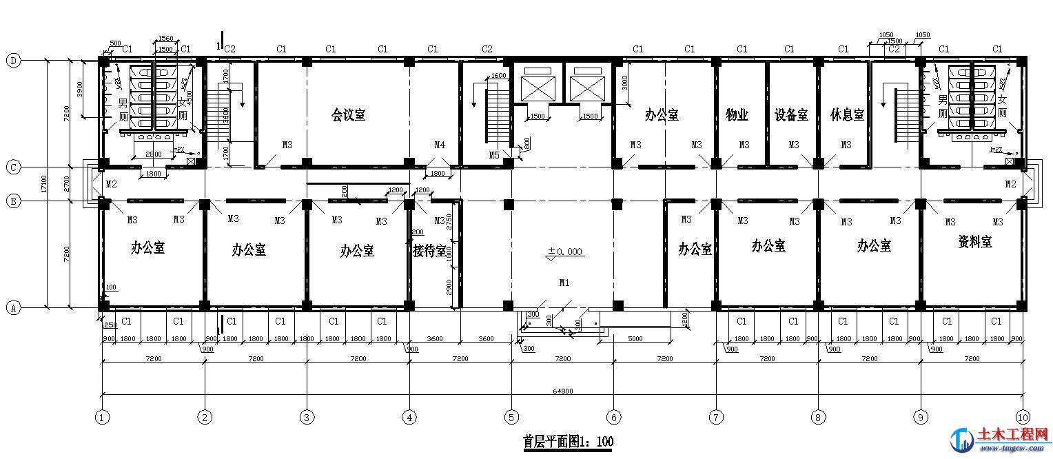 5层6812平米天津市某学院教学楼毕业设计