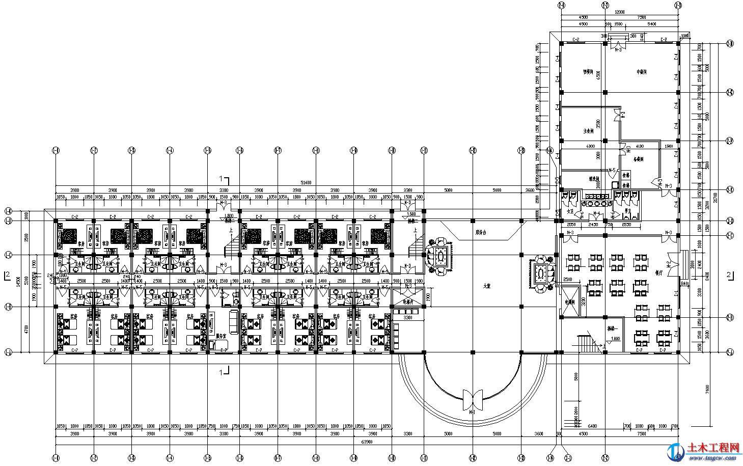 ss009【5层】5162平米河北某大学宾馆毕业设计