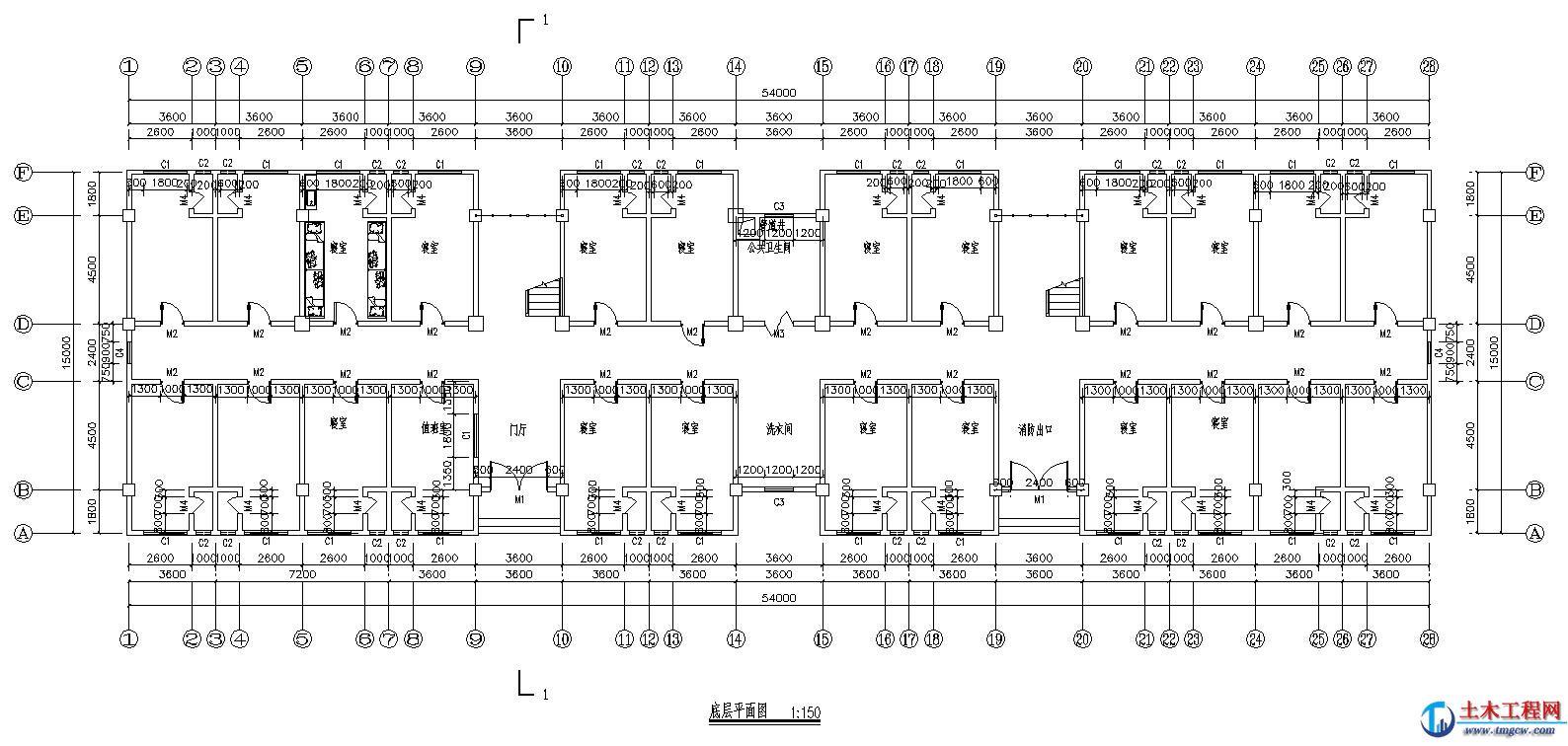 6层4860平米湖北武汉某学生公寓楼毕业设计