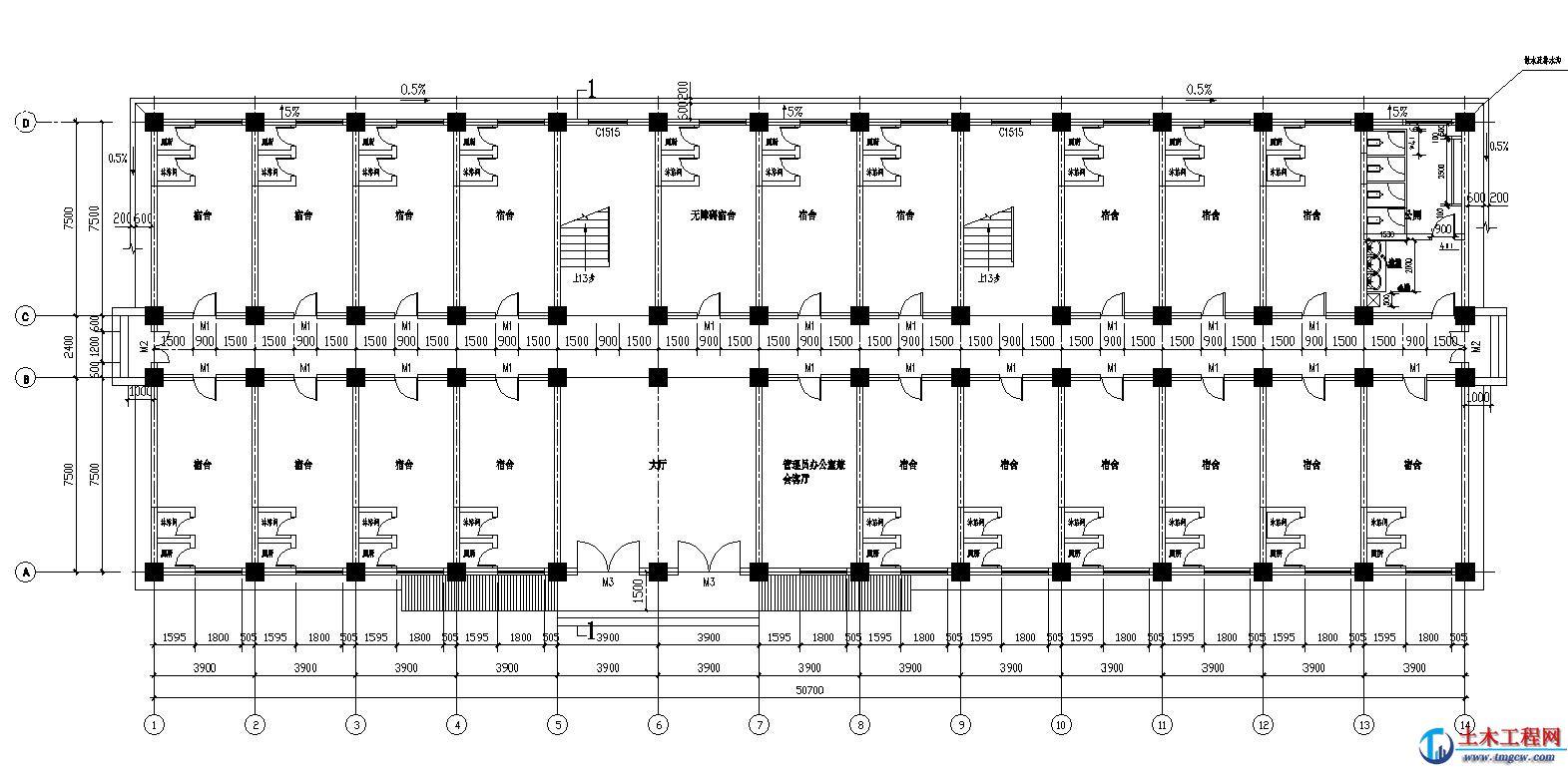 6层5391平米云南省昆明某框架结构宿舍楼毕业设计