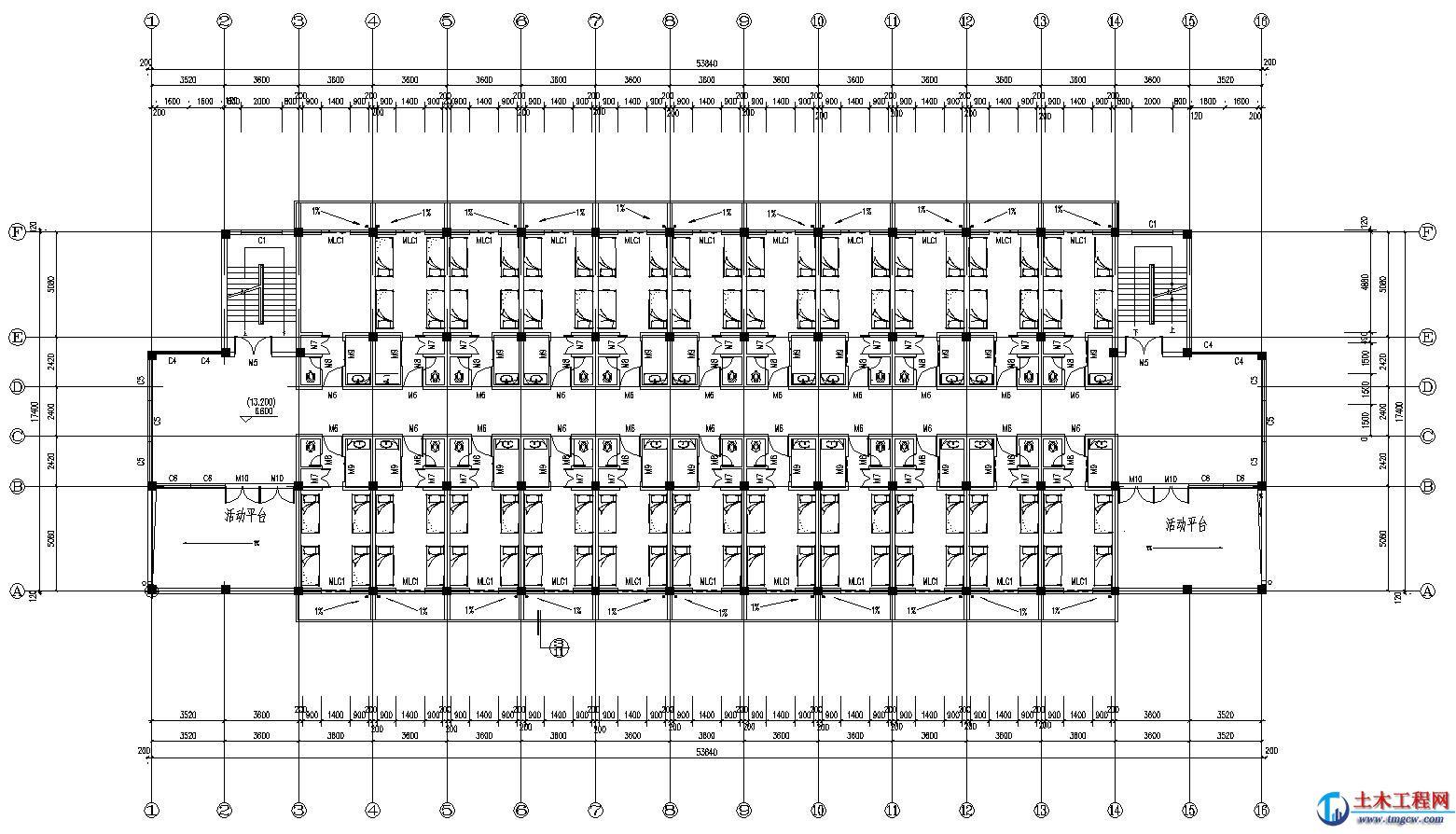 6层5620平米浙江温州某框架结构宿舍楼毕业设计