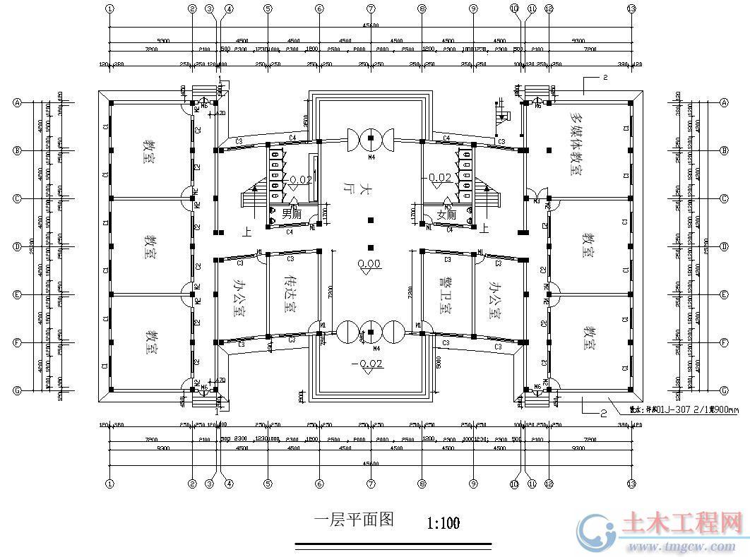 5层4000平米某大学框架结构教学楼毕业设计