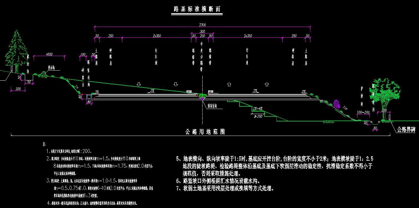 路基宽23米行车道宽4X3.5米全长1.196382公里Ⅰ级公路毕业设计