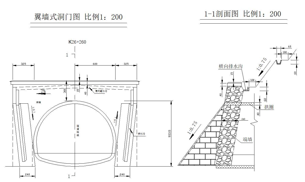 贵州某分离式单向行驶两车道隧道左线全长298米隧道毕业设计