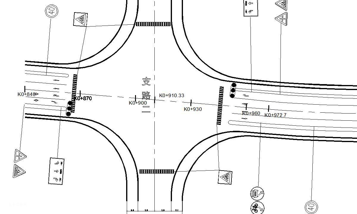 路线全长1711米红线宽度30米某城市次干道毕业设计