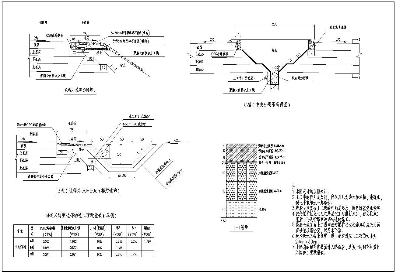 全长3100米双向四车道路基宽度26米道路毕业设计
