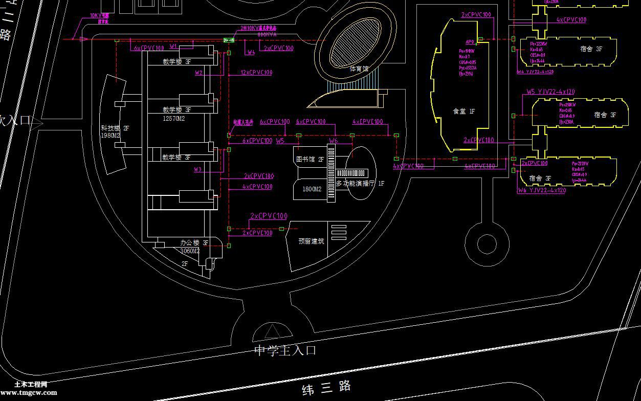 内蒙古某学校电力工程外线总图电气总平面图