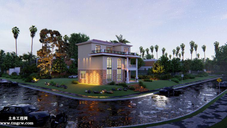 三层单家带露台别墅建筑设计图,CAD及效果图
