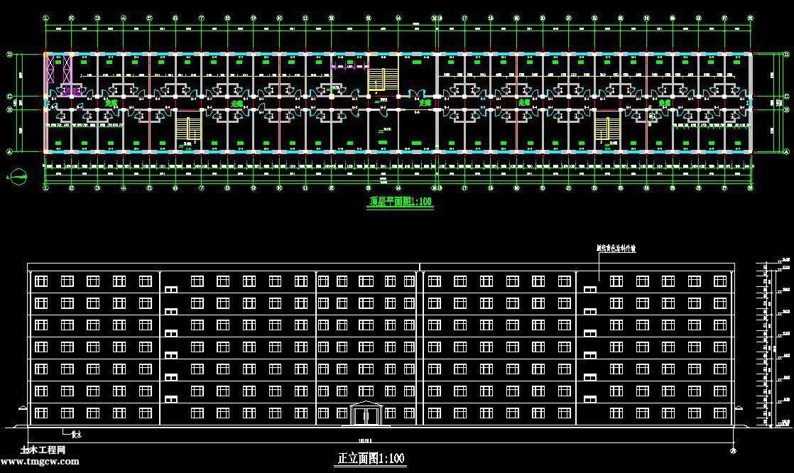 7层11235平米黑龙江大庆某大学生公寓毕业设计