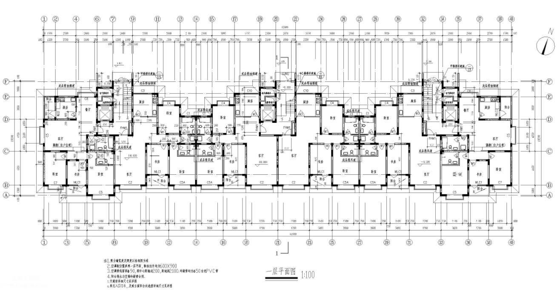12层高层住宅楼框架结构建筑方案图纸