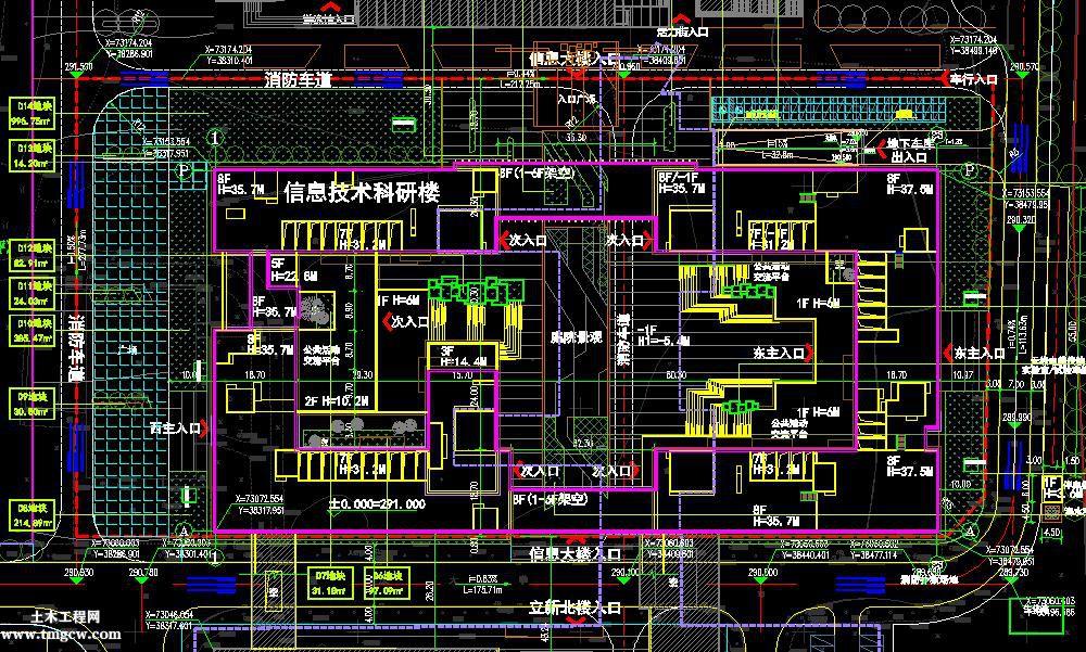 重庆某高校信息技术科研楼图纸含总图,建筑,节能绿建材料清单