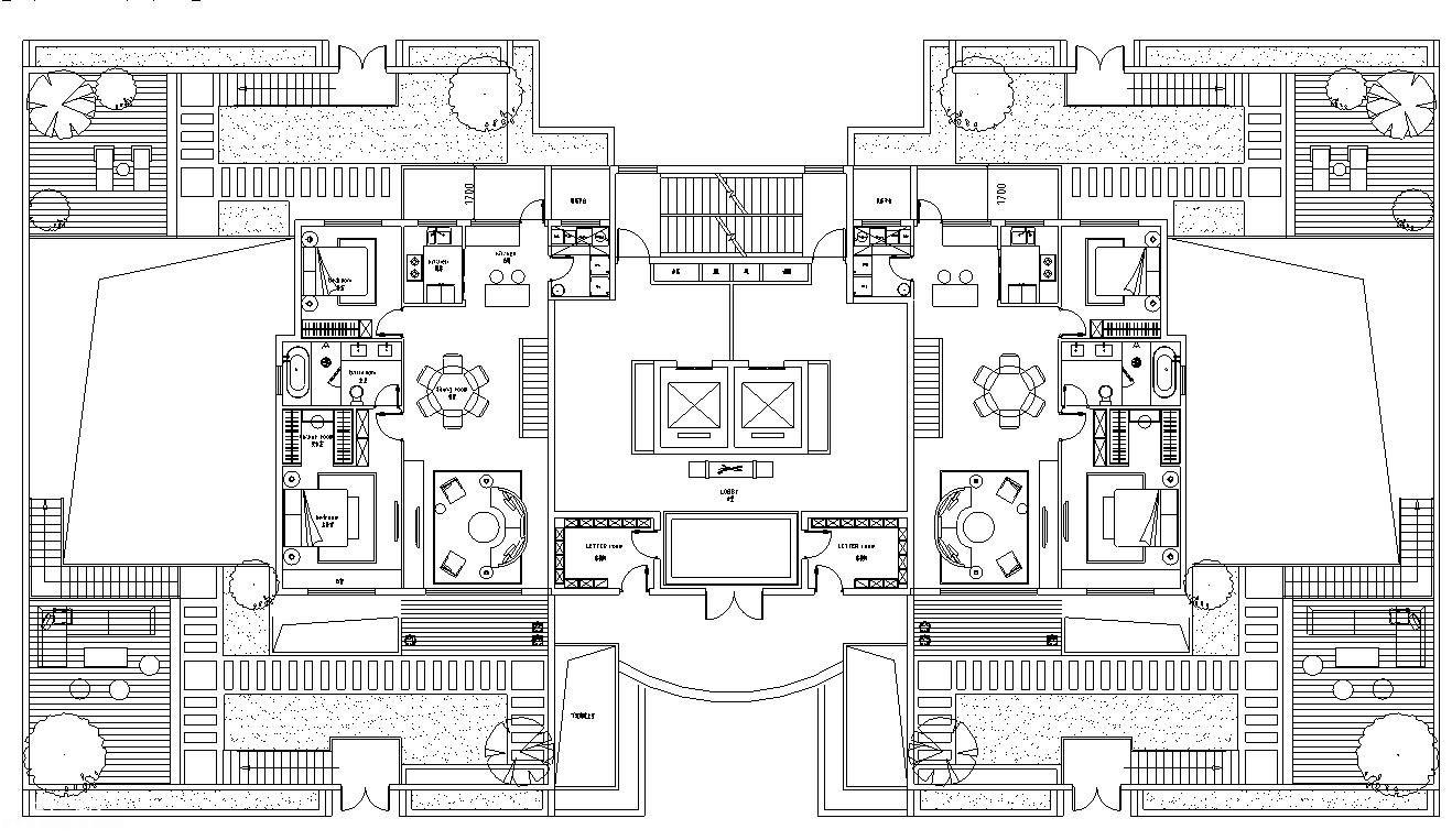 高层住宅多种户型深化设计图纸免费下载