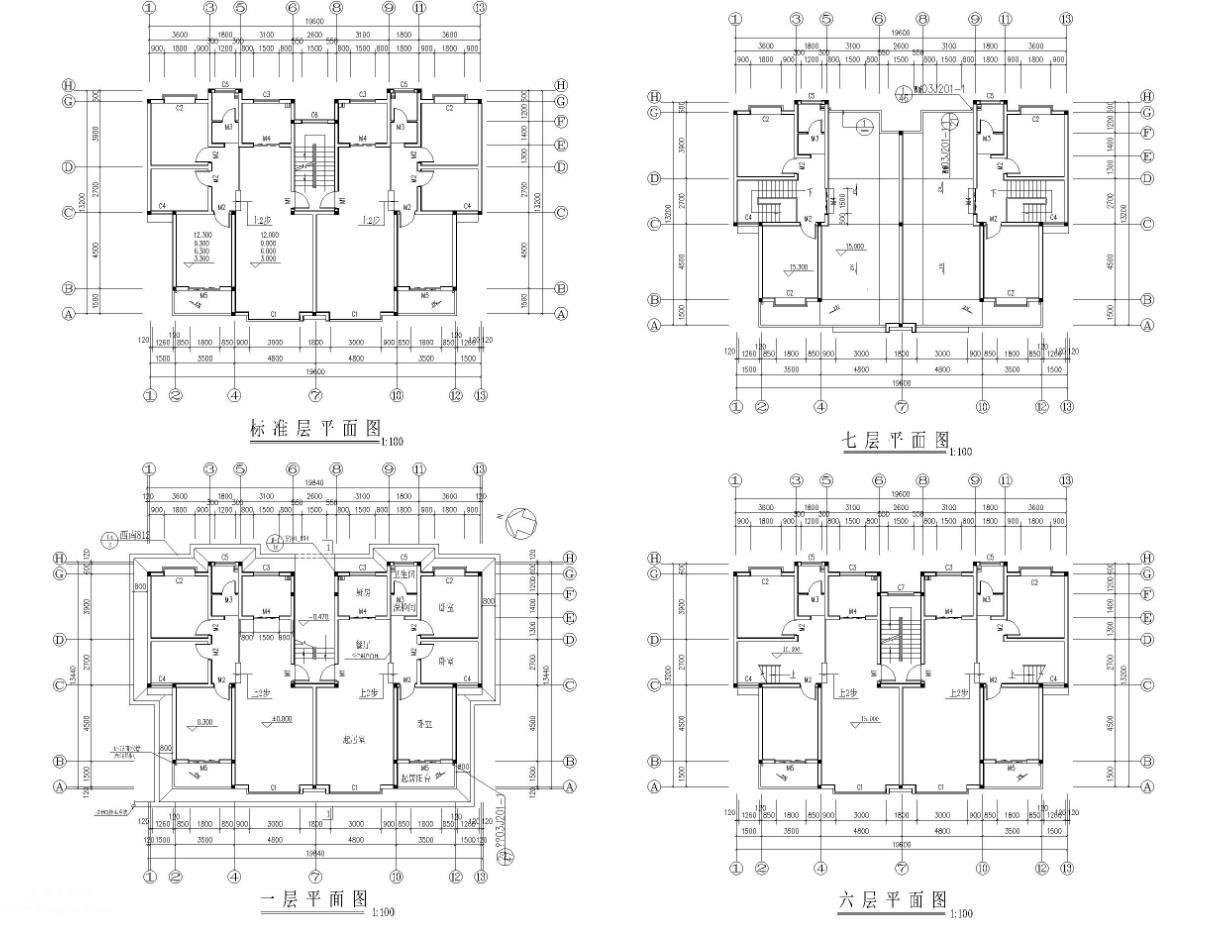 某7层砖混结构住宅楼建筑施工图免费下载