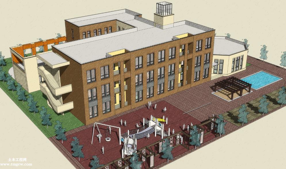 某幼儿园建筑施工图含CAD图纸和效果图免费下载