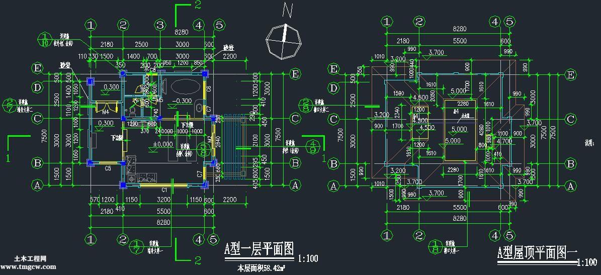 上海某酒店水疗中心建筑结构图