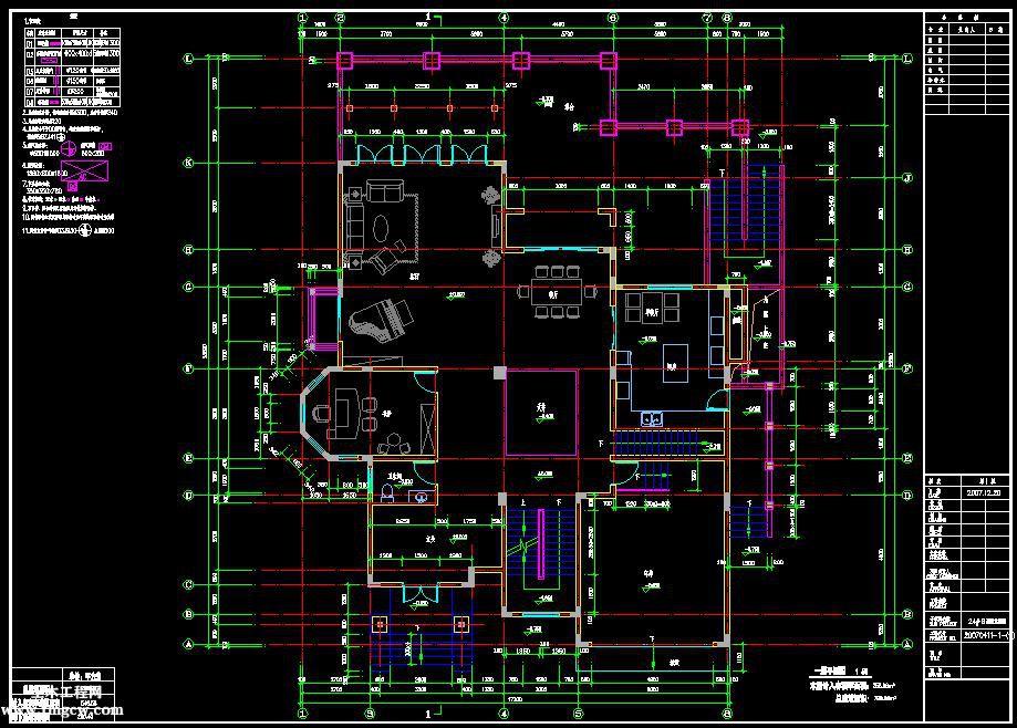 惠州某独立别墅全套图纸含建筑结构水电暖通等