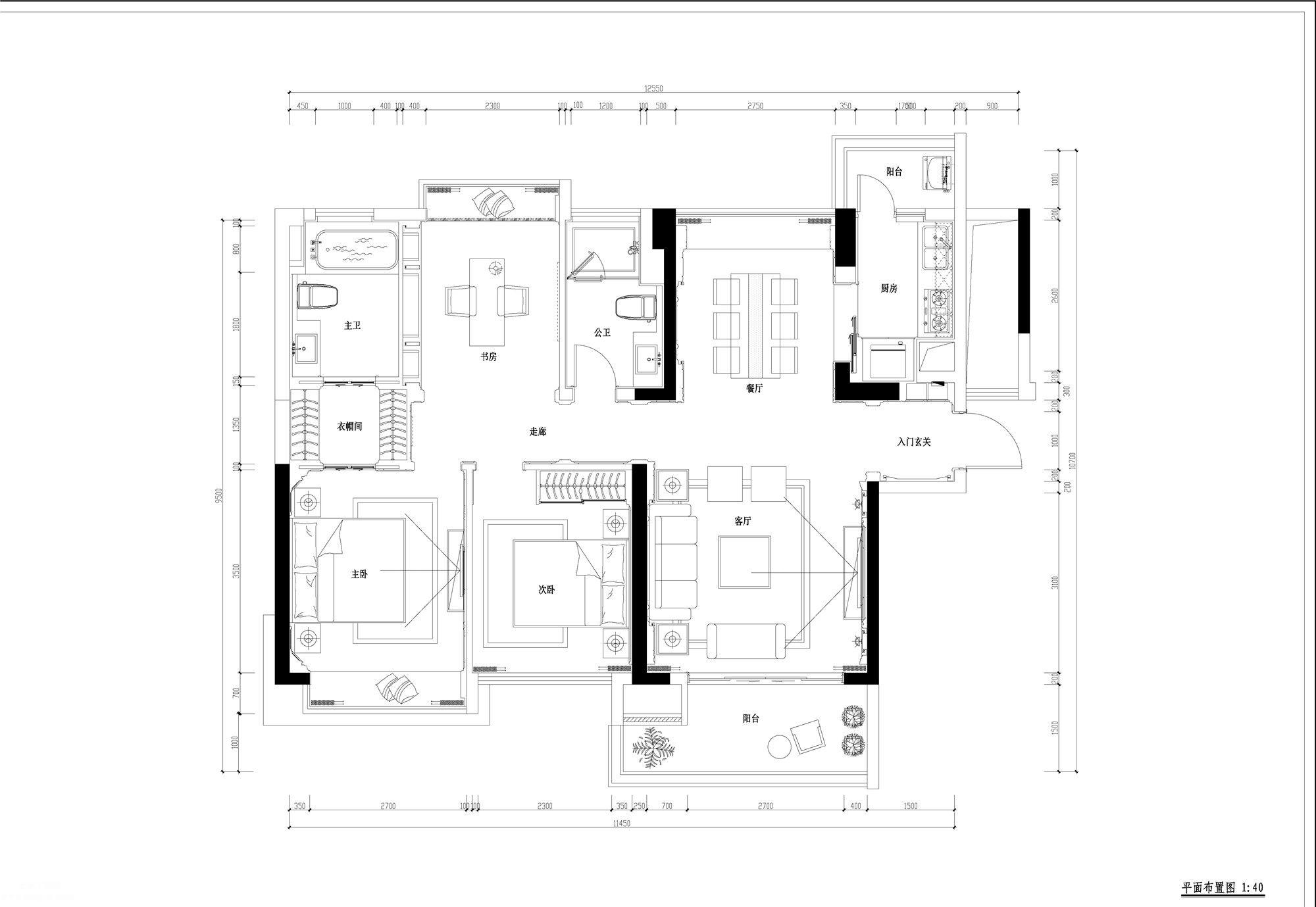 二居室的古典风格样板间设计CAD施工图全套含效果图、3D文件