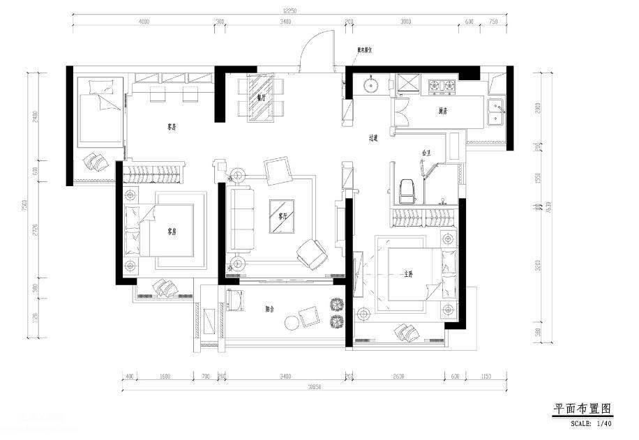 三居室地中海风格样板房建筑施工图含效果图、实景图、3D模型