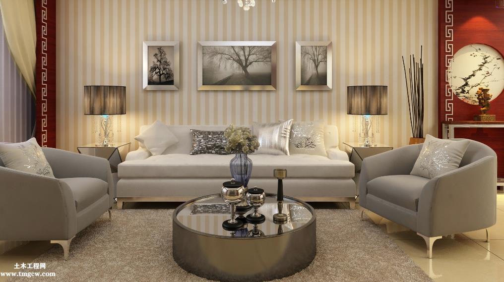 二居室中国国内百搭风格样板房建筑施工图含效果图